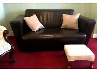 Dark brown leather 2 seater Sofa - I can deliver