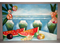 Picture painting oil on canvas stretched on frame Watermelons Sea 3ft x 2ft unknown artist