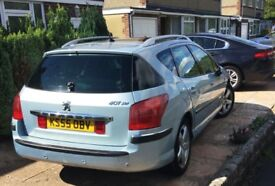 Peugeot 407 SW SV HDI Estate, MOT April 2009 Blue with usual refinements