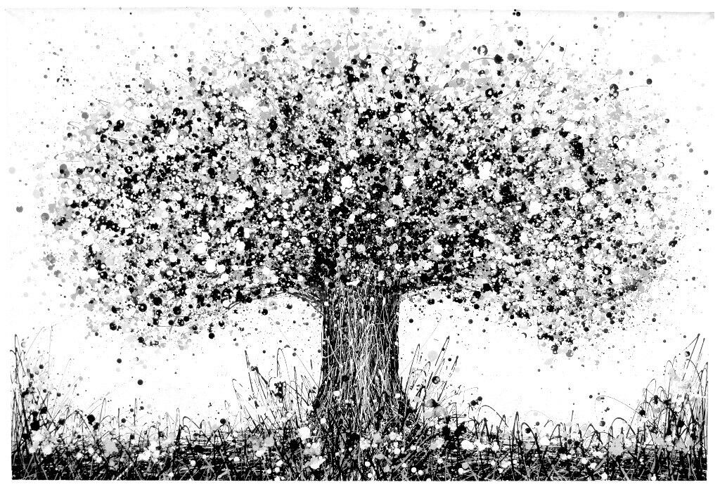 Very Large Black And White New Abstract Oak Tree