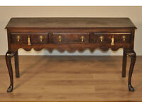 Attractive Large Wide Antique Victorian Oak Dresser Base Sideboard With Drawers