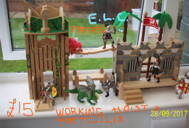 E.L.C. WOODEN FORTRESS WITH E.L.C. KNIGHTS,DRAGON AND MONSTER