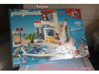 playmobil harbour police with speed boat comes in its box