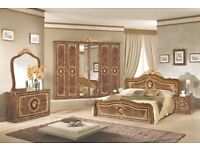 Alice Italian high gloss Walnut bedroom suite