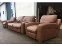 3+1+1 italian brown leather sofas DELIVERY AVAILABLE