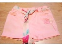 Child Girl's New Pink Upturned Hemlines Shorts with Tie Belt.Age 2-3 Years.