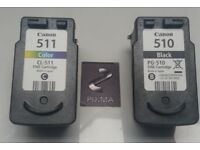 Brand new Canon ink cartridges for Pixma MP272 Black 510 and 511 colour