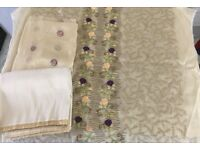 Unstitched Asian Indian Pakistani suit fabric gold beige purple and pink embroidery