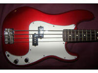 Fender Precision Bass , P-Bass Mexico , Mexican , MIM (2007-2008) Candy Apple Red Metallic.