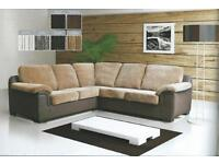 JUMBO CORDED FABRIC AMY CORNER SOFA SUITE ALSO AVAILABLE IN LEATHER FINISH