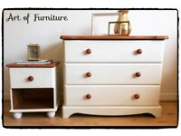 Rustic Pine Bedroom Furniture Set Chest Of Drawers & Bedside Table Hand Painted in Cream Chalk Paint