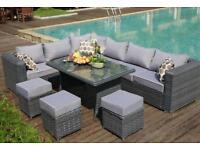 Yakoe Papaver 9 Seater Rattan Garden Furniture Corner Sofa Patio Dining Set Grey