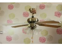 Brass Beach White Effect 3 Speed Ceiling Fan with Light Lights 5 Blades Living Room Conservatory etc