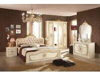 Alice Classic Italian Cream leather Bedroom Suite
