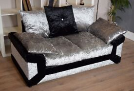 Brand new 2 Seater Crushed Velvet Black and Silver Sofa Scatter Back Reduced To Clear