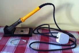 ANTEX 25W SOLDERING IRON + STAND & SOME SOLDER ( IN GOOD WORKING ORDER )