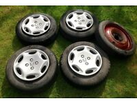 4 Tyres & Peugeot HubCaps - Plus Spare Skinny Tyre - 165/70 R13 79T - 4 Bolt - Fits Saxo Fiesta