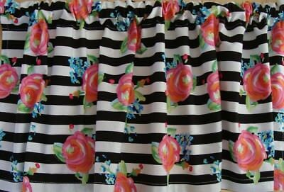 Valance Black and White Stripe with Pink Flowers Custom Made Window Treatment ()