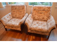 Armchair - oak wood with cane back & sides, vintage. Selling individually or as pair.