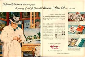 1950 2-page color ad Winston Churchill Hallmark Christmas cards