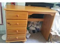 Pine dressing table with three drawers great condition with matching chair