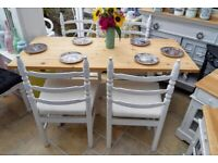 5 ft solid pine table and 4 x upholstered chairs, NEWLY DONE/ REFURBISHED
