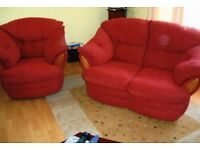 As New - 2-Seater Sofa and 1 Matching Armchair - Dark Terracotta Colour