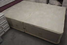 Silentnight Sprung Double Divan Bed Base with storage drawers - used