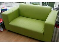 2 seater compact leather effect sofa