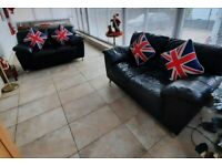 SCS Black real leather 2 x 2 seater sofas ultimate comfort stylish and modern