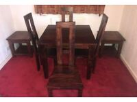 Dakota Sheesham Dark Oak Dining Table with 4 Chairs and 2 Matching Side Tables with lower shelf