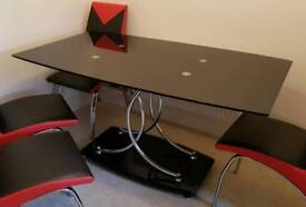 Black glass dining table NO CHAIRS