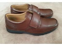 BRAND NEW MENS EXTRA WIDE FIT SIZE 10 H ALL LEATHER SLIP ON VELCRO STRAP SHOES