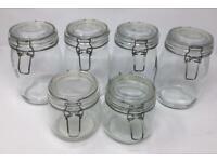 Storage Jars 2 small 4 medium clip top Kilmer like- hardly used