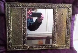 Vintage Ornate Gold Metal Mirror
