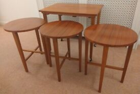 Vintage Set of 4 Teak Nesting Tables Poul Hundevad Style Plant Stands
