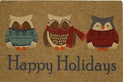 "OUTDOOR DOORMAT W/COIR (18""x27"") CHRISTMAS, HAPPY HOLIDAYS, WINTER OWLS, MOHAWK"