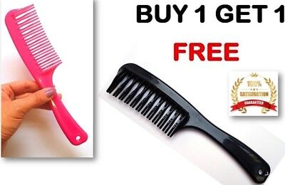 2 x Double Row Tooth Hair Comb with Handle Best Beauty Buys for Dry Wet