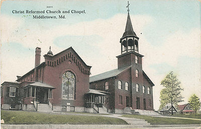 Middletown MD * Christ Reformed Church & Chapel ca 1908 Frederick Co. e16