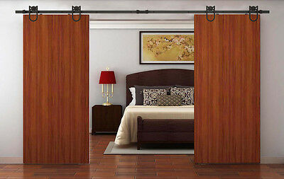 12FT Antique American Country Style Black Barn Wood Double Sliding Door Hardware