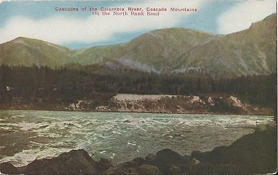 Postcard Washington State Cascades Of Columbia River North Bank Rd Ca1910 1920