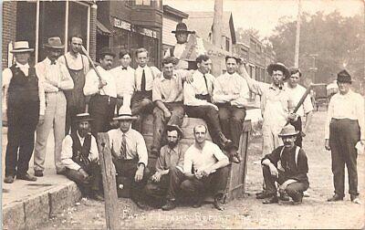 "RPPC Hopkinton Iowa Baseball Team ""Fats & Leans Before the Game"" 1908"