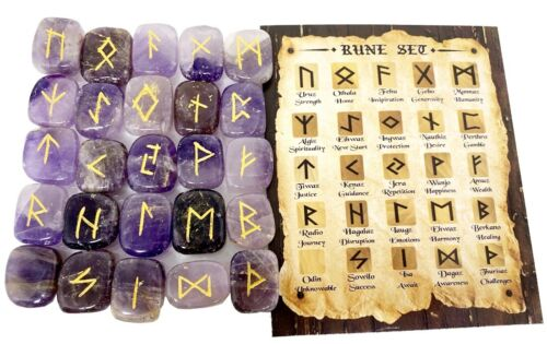 Amethyst Rune Sets Elder Futhrak Set comes with black Pouch and rune card