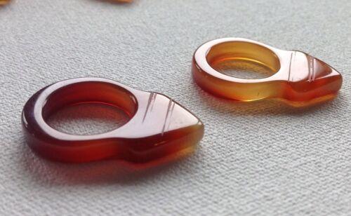 "1"" Old Idar Oberstein Khourb Orange Carnelian Tuareg Hair Ring Talisman Amulet"
