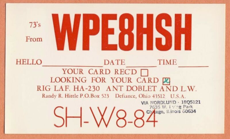 QSL RADIO CARD WPE8HSH SH-W8-84 Defiance Ohio looking for your card via 18Q5121