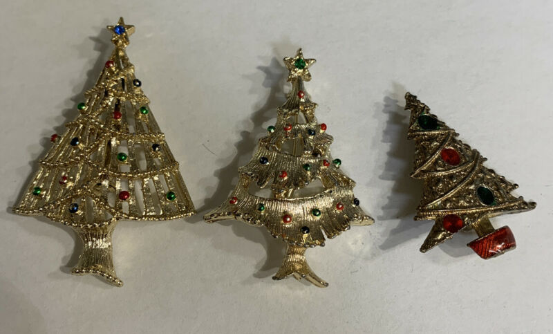 Vintage 3 Christmas Trees Jewelry Brooch Pin Lot TJ-56