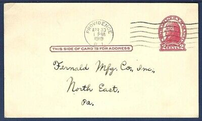US Postal Card UX29 Jefferson 2 Red Die1 From Providence, Rhode Island 1919 - $4.00
