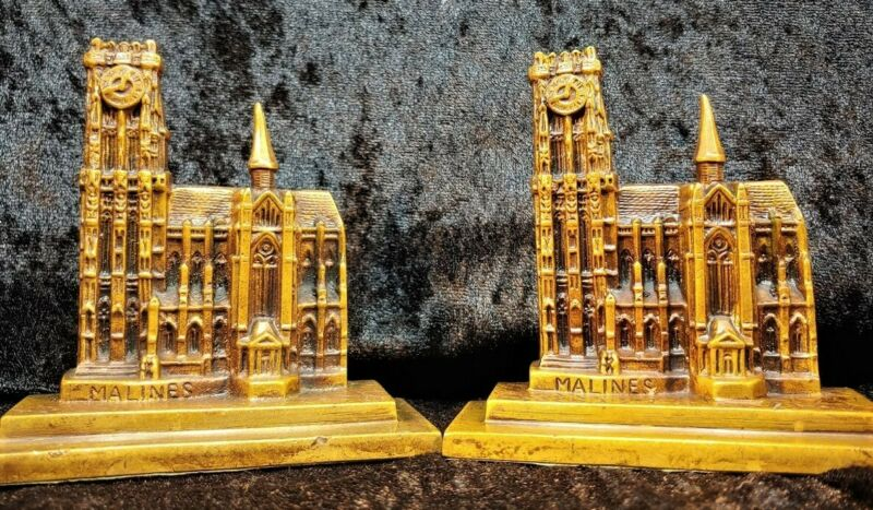 Malines Cathedral Solid Bronze Bookends Souvenir Building