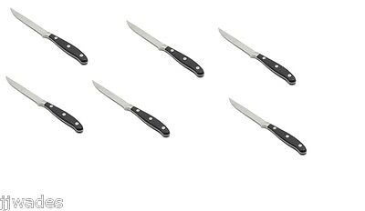 6 PCS. Fortessa Forged Full Tang Steak Knives, 8.2-Inch, Black Hand ***NEW**
