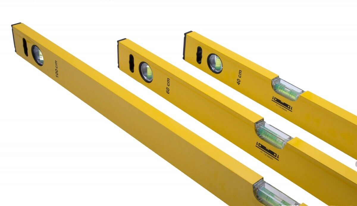 Wasserwaage Aluminium 3er Set - Alu Wasserwaagen: 1 m  | 60 cm | 40 cm